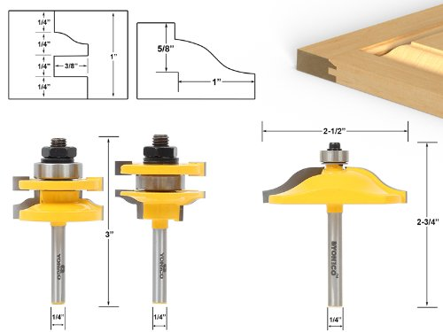Yonico 12338q Raised Panel Cabinet Door Router Bit Set with 3 Bit Ogee 1/4-Inch Shank ()
