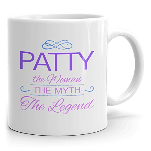 Patty Coffee Mugs - The Woman The Myth The Legend - Best Gifts for Women - 11oz White Mug - Purple