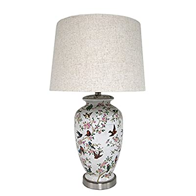 Chinese Traditional Birds and Floral Ceramic Vase Table Lamp - Living Room Lamp - Family Room Lamp - Bedroom Lamp - Study Room Lamp - Home Decor - Artwork