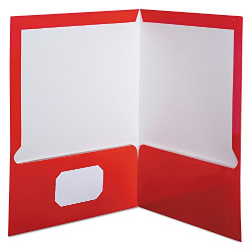 Oxford Showfolio Laminated Twin Pocket Folders, Letter Size, Red, 25 per Box (51711EE) (Stock Twin Pocket Portfolios)