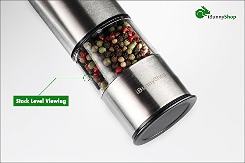 iBunny Premium Stainless Steel Electric Pepper Grinder or Salt Grinder Mill, Battery Operated with Light and Adjustable Ceramic Grinder by iBunnyShop (Image #3)
