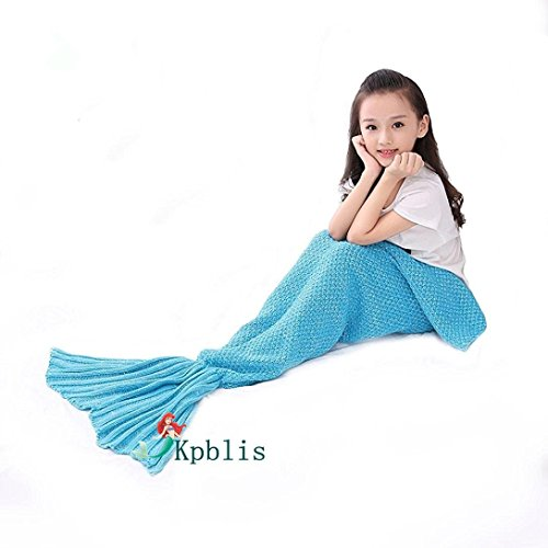Kpblis Knitted Mermaid Tail 75-Inch-by-31-Inch Blanket Kids Blue (Mermaid For Kids)