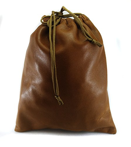 Chalk Factory Multiple use Lambskin Leather Pouch with Drawstrings: (22 cm X 26 - Lambskin Drawstring