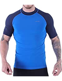 V VICROAD Mens UV Protection Rash Guard Swim Shirts Short Sleeve Moisture Wicking Tee Shirts Size S-3XL