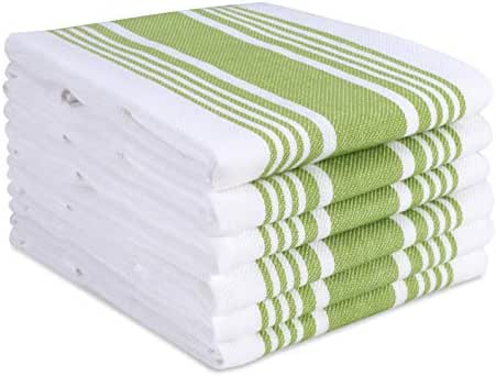 Cotton Clinic Farmhouse Stripe Kitchen Dish Towels Set of 6 Extra Large 18x28, Dish Cloths, Bar Towels, Tea Towels and Cleaning Towels, Kitchen Towels with Hanging Loop, Green White