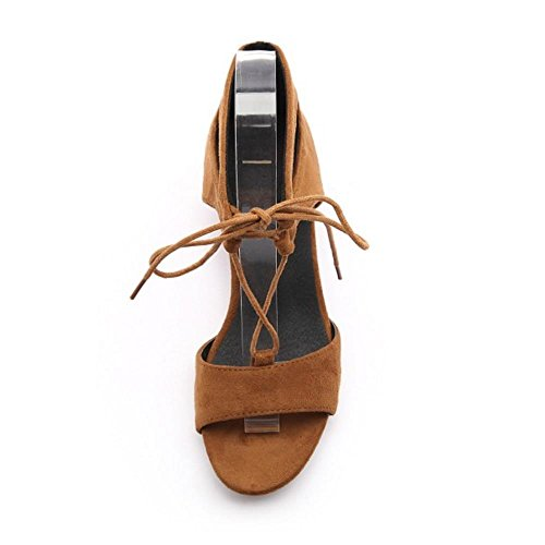 COOLCEPT Mujer Moda Cordones Strappy Chunky Heel Sandalias Chicas Colegio Gladiator Zapatos Amarillo