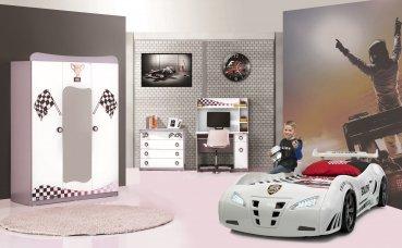 Kinderzimmer Police 3-tlg weiß glänzend von Möbel-Zeit