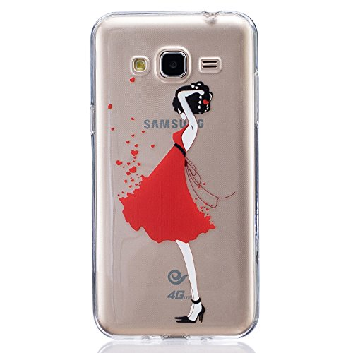 Funda Samsung Galaxy J3 2016 SM-J320F, AllDo Funda TPU Silicona para Samsung Galaxy J3 2016 SM-J320F Funda Transparente Claro Carcasa Flexible Suave TPU Silicone Case Soft Cover Carcasa Protectora Fun Hermosa Chica