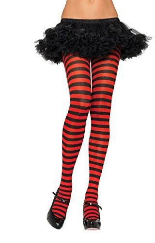 Witch Tights (Leg Avenue Women's Nylon Striped Tights, Black/Purple, One Size)