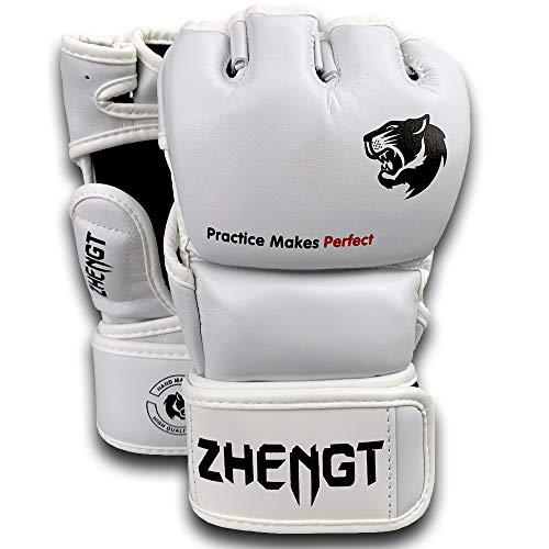 (ZTTY MMA Gloves Martial Arts Training Sparring Punching Bag Gloves for The Kickboxing with Microfiber Leather (White, M))