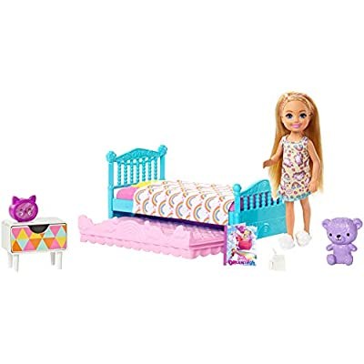 Barbie Club Chelsea Toy, 6-Inch Blonde Doll and Bedroom Playset with Working Trundle Bed, Nightstand with Drawer, Teddy Bear and More, Gift for 3 to 7 Year Olds​​​: Toys & Games