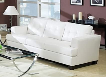 Superior ACME 15095B Diamond Bonded Leather Sofa With Wood Leg, White