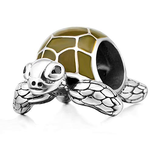 Sambaah Turtle Charm Sterling Silver Sea Tortoise Charm Bead with Green Enamel Lucky Turtle Charm for Bracelets