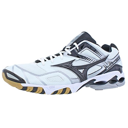 Mizuno Men's Wave Bolt 3 Volleyball Shoe,White/Black,17 M US by Mizuno