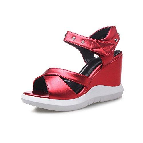 AgooLar Mujeres Pu Plataforma Puntera Abierta Sólido Velcro Sandalia Rojo