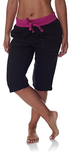 N.Y.L. New York Laundry NYL Women's Workout Capri Pants With Wide Pockets and Drawstring Elastic Waist Black Tropical Orchid Plus Size 3X Large