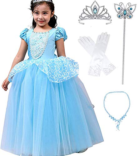 - Romy's Collection Princess Cinderella Special Edition Blue Party Deluxe Costume Dress-Up Set (5-6, Blue)