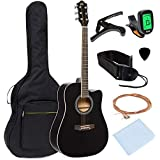 Best Choice Products 41in Full Size Beginner Acoustic Cutaway Guitar Set w/Case, Strap, Capo, Strings, Tuner - Black