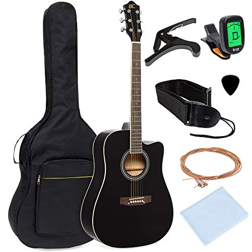 Best Choice Products 41in Full Size Beginner Acoustic Cutaway Guitar Kit Musical Instrument Set w/Padded Case, Strap, Capo, Extra Strings, Digital Tuner, Polishing Cloth, 4 Picks - Black Black Cutaway Acoustic Guitar