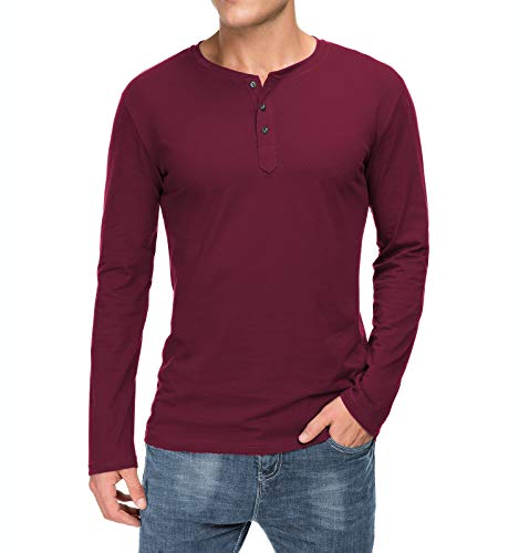(Boisouey Men's Casual Slim Fit Short Sleeve Henley T-Shirts Cotton Shirts Wine Red L )