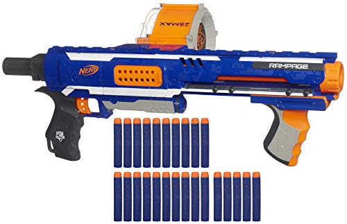 Black Semi Automatic Gun - Nerf Rampage N-Strike Elite Toy Blaster with 25 Dart Drum Slam Fire & 25 Official Elite Foam Darts for Kids, Teens, & Adults