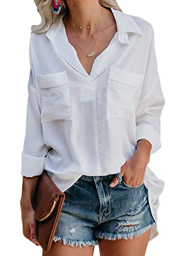 Dokotoo Womens Autumn Loose Fit V Neck Long Sleeve Pockets Ladies Solid Shirts Tunics Amazon Tops and Blouses Fashion 2019 for Womens White -