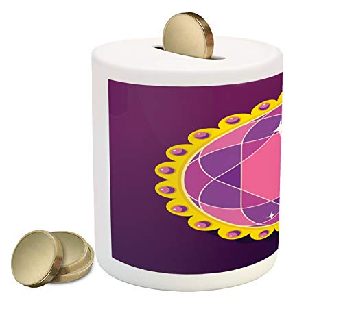 (Ambesonne Amethyst Piggy Bank, Abstract Round Gemstone Ornamented with Circular Frame and Pearls Image Print, Printed Ceramic Coin Bank Money Box for Cash Saving, Multicolor)