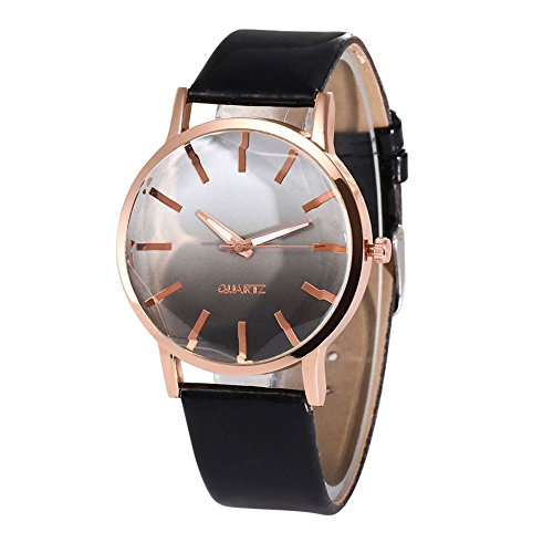 On Sale Clearance Prime Ladies Gradual Color Fashion Pointer Wrist Quartz Watches with Leather Band Elegant Casual Analog Classic Business Watches for Women (C) (Pointer Wrist Woman Watch)