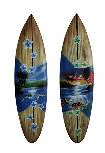 Zeckos Wood Wall Sculptures 2 Piece Tropical Air Brushed Mini Wooden Surfboard Wall Hanging Set 20 Inch 5.25 X 20 X 0.25 Inches (Dolphins Wood Sculpture)