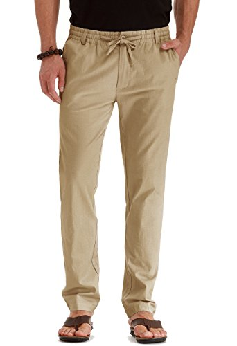 (Mr.Zhang Men's Drawstring Casual Beach Trousers Linen Summer Pants Khaki-US 40)