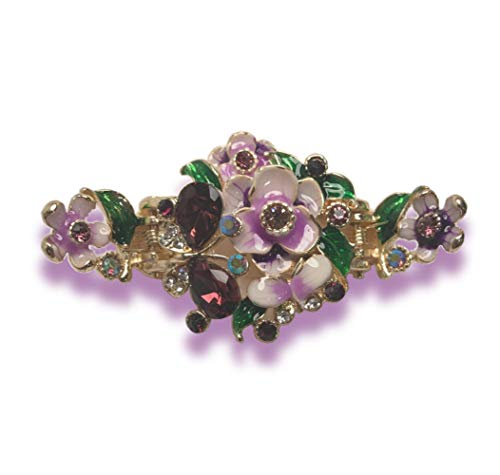 Enamel Painted Flowers and Jeweled Butterfly Metal Hair Claw on Dual Spring Gold Metal Clip (Purple)