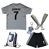 GamesDur 2018/2019 Cristiano Ronaldo #7 Away Football Soccer Kids Jersey & Short & Sock & Soccer Bag Youth Sizes (Away Juve), 7-8 Years
