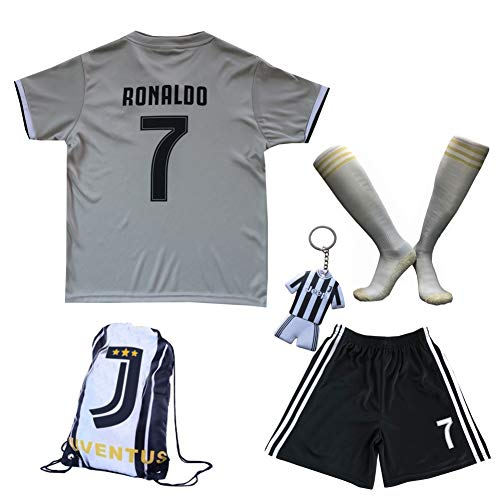 GamesDur 2018/2019 Cristiano Ronaldo #7 Away Football Soccer Kids Jersey & Short & Sock & Soccer Bag Youth Sizes (Away Juve), 11-12 Years ()
