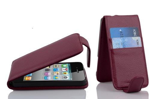 Cadorabo - Funda Flip Style para Apple iPhone 4 / 4G / 4S de Cuero Sintético - Etui Case Cover Carcasa Caja Protección con Tarjetero en AZUL-ATLÁNTICO BURDEOS-VIOLETA