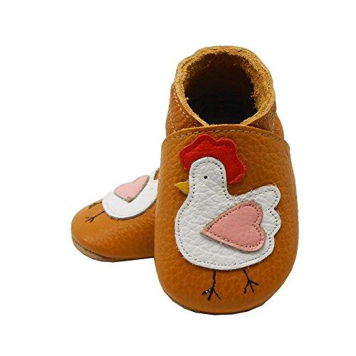 Sayoyo Suaves Zapatos De Cuero Del Bebé Zapatillas pollo marrón