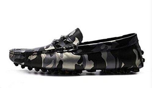 Mode Hommes Camouflage Chaussures Cool Mocassin Confort Slip-on En Cuir Mocassins Chaussures De Conduite Noir Gris