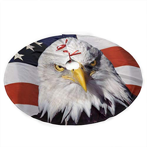 (MASDUIH Jewelry American Patriotic Eagle Christmas Tree Skirt -35.5 Inches)