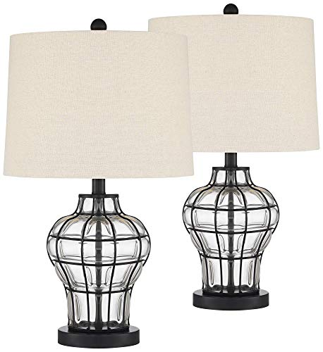 Hudson Modern Farmhouse Table Lamps Set of 2 Dark Bronze Clear Blown Glass Gourd Burlap Fabric Drum Shade for Living…