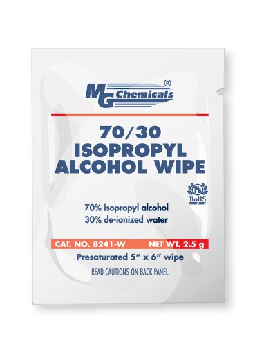 """MG Chemicals 70% Isopropyl Alcohol Wipe, 6"""" Length x  5"""" Width (Box of 25)"""