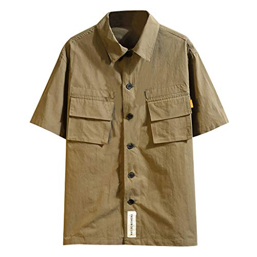 Trule Casual Shirts Summer Mens Print Shirts Casual Short Sleeve Beach Tops Loose Turn-Down Collar Blouse Army Green