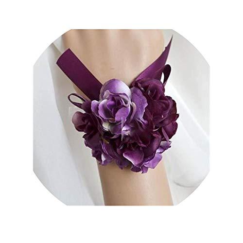 Bride Bridesmaid Hand Wrist Flower Wedding Boutonniere Groom Godfather Brooch Corsage Accessories Supplies New,Hand Flower 10 ()