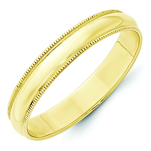 10K Yellow Gold 4mm Lightweight Milgrain Half Round Domed Wedding Band - Size (Yellow Gold Milgrain Ring)