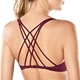 Cheap CRZ YOGA Women's Removable Pads Yoga Top Cross Strappy Back Sports Bra Dark Violet S Fit 32D 34A 34B 34C
