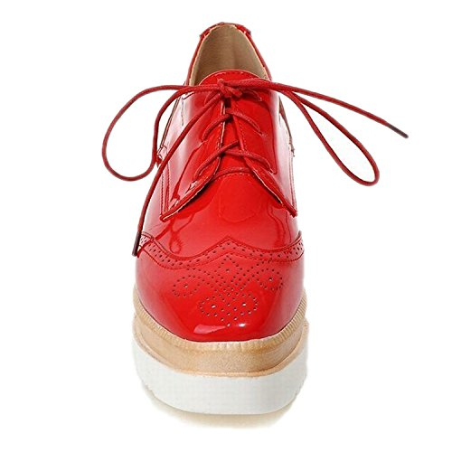 Maybest Womens Lace-up Plattform Kilklack Snidade Oxfords Skor Pumpar Röd