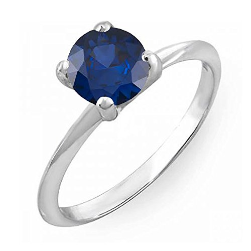 Dazzlingrock Collection 14K 8 MM Round Cut Blue Sapphire Solitaire Bridal Engagement Ring, White Gold, Size 8