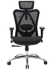 SIHOO Ergonomiczne krzesło biurowe, fotel szefa z regulowanym podłokietnikiem 3D i podparciem okolic lędźwiowych, przyjazne dla skóry krzesło z wysokim oparciem, obciążenie do 150 kg
