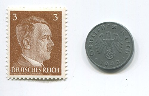 Rare Nazi Swastika 1 Reichspfennig German Coin World War Two WW2 with Brown Hitler Head Stamp MNH