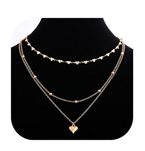 Eoumy Multilayer Chain Choker Necklace Gold Heart Chain Choker Heart Pendant Necklace for (Gold Flower Choker Necklace)