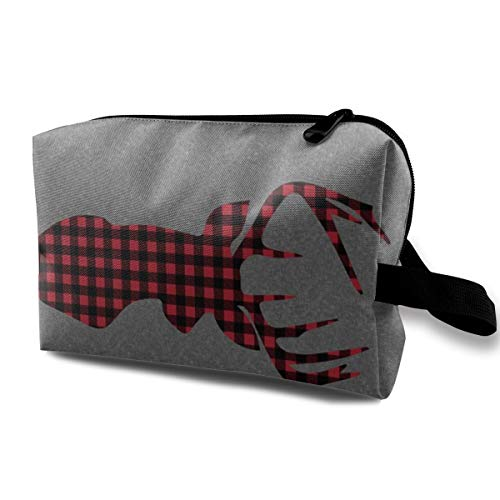 54 Width 1 Yard Panel - Large Plaid Buck Head On Grey Linen_16850 Cosmetic Bags Portable Travel Makeup Organizer Multifunction Case Bags for Women ()