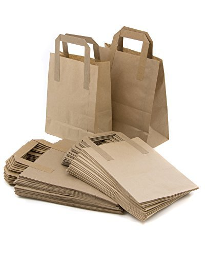 The Paper Bag Company 18 x 23 x 9 cm Paper Carrier Bags with Flat Handles, Pack of 100, Brown 5056033009430